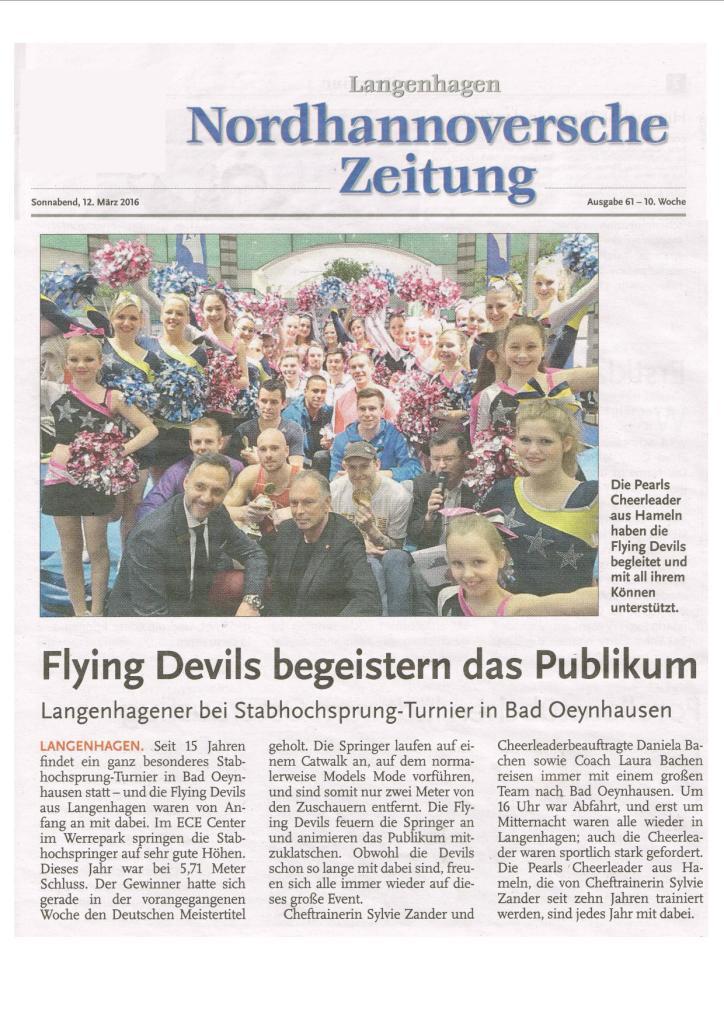 2016-03-12 - Nord HAZ - Flying Devils begeistern das Publikum (klein)